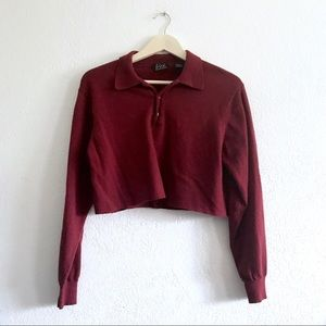 Burgundy henley collared cropped sweater